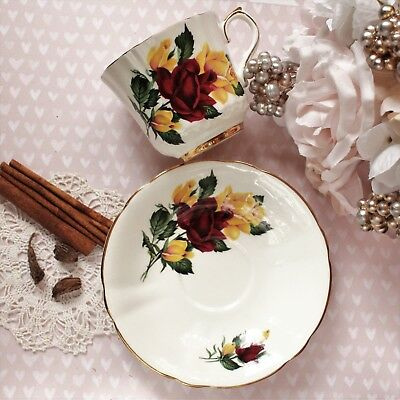 Vintage Windsor Bone China Cup and Saucer Set Vintage England Red Yellow Roses