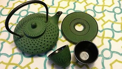 Green Japanese Tea Set Cast Iron Teapot Hobnail Pattern with Trivit and Two Cups