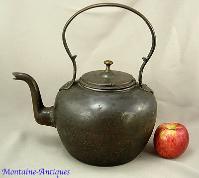 Early Antique Brass Gooseneck Kettle Southern (?) 19th cent