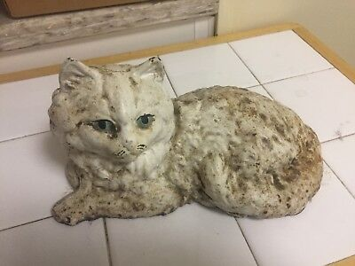 Vintage White Cast Iron Cat Door Stop