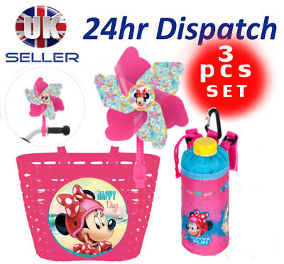 Disney MINNIE MOUSE Bike Cycle Shopping BASKET +Bottle Cover + Windmill Pinwheel