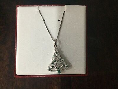 Christmas Tree Necklace Green White Made With Swarovski Crystals Sterling Silver