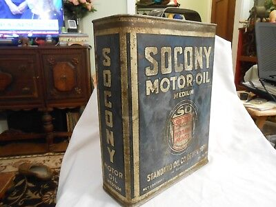 vintage rare 1920'S ONE GALLON SOCONY MOTOR OIL CAN, STANDARD OIL COMPANY OF N.Y