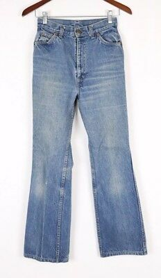 VINTAGE WOMENS LEVIS BIG E FLARE BELL BOTTOM JEANS FITS 25x30