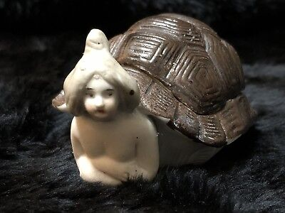 Early 20th Cent. German Bisque Bathing (Naughty) Beauty in Turtle Shell Figure