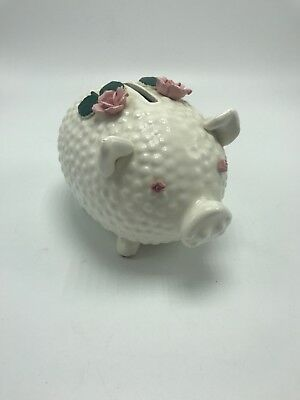 Lefton Piggy Bank Hand Painted Floral Raised Flowers Pink w/ leaves Hobnail 4""