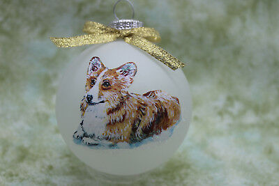 Z26 Hand-made Christmas Ornament dog - Pembroke Welsh Corgi - red fawn laying