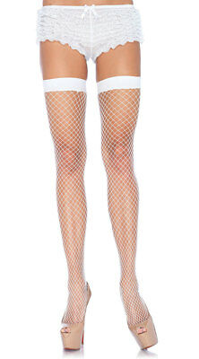 White Thigh High Fishnet Stockings Over knee Pantyhose Women's Tights Bridal