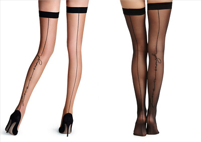 Black Sheer Thigh High Stockings Back Seam Detail Nude Pantyhose Love Is Enough