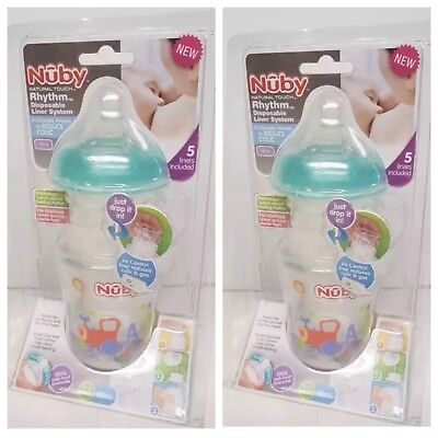 2 X Nuby Natural Touch Rhythm 180ml Anti-Colic Bottle Age 0m+ Baby 5 Liners Inc