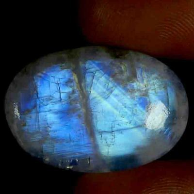 High Grade Blue Flashy 38.25cts NATURAL RAINBOW MOONSTONE OVAL Cab GEMSTONE