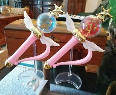 Sailor Moon SuperS Mercury & Mars Gashapon Transformation Wands + Keychain Bonus