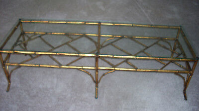Vintage Gilt Metal Faux Bamboo Chinese Chippendale Coffee Table