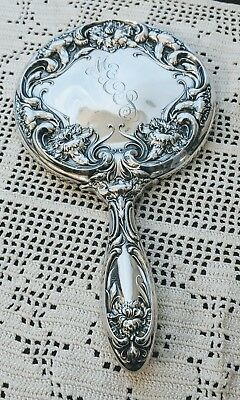 WALLACE RW&S Art Nouveau Sterling Sterling Silver Carnation Mirror Magnificent