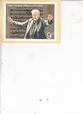 Ralph Vaughan Williams Post Cardwith Full Set Of Stamps 1985