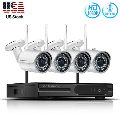 1080P Wireless Security Camera System Outdoor Wifi Home CCTV NVR Kit with Audio