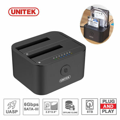 "Unitek USB-C to DUAL Bay SATA Hard Drive Dock 3.5""2.5"" HDD Docking Station Clone"