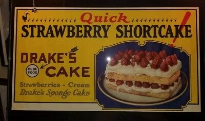"ORIGINAL VINTAGE 1920's 18""x10"" Drakes Cakes Advertising Window Sign Shortcake"