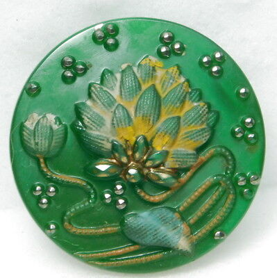 Antique VINTAGE Button Hand Painted WATER Lily on Green GLASS GORGEOUS! A62