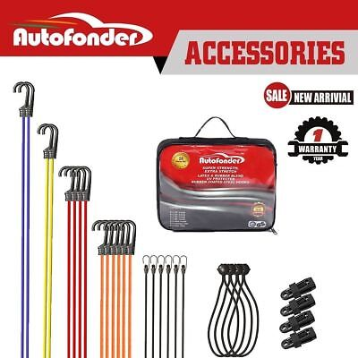 Autofonder 28pc bungee cord set latex & rubber blend rubber coated steel hooks
