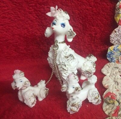 Vintage Lefton's Poodles Spaghetti China Mama & 2 Pups White Pink Gold Rose Trim
