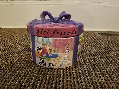 Jennifer Brinley ''Girl Friends'' Hat Box Cookie Jar Certified International