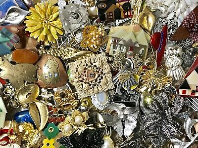 Large Vintage To Now Jewelry Lot 3+ Lbs Brooches Pins Estate Find Untested P1
