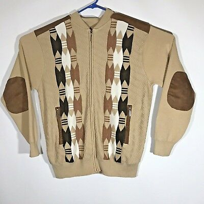 Stacy Adams Mens XL Tan Brown Sweater Full Zipper With Zip Pockets Elbow Patches