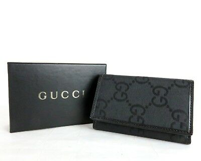 3f2d66e6046f 100%Authentic GUCCI GG Canvas Leather Key Case Holder Black Made In Italy W