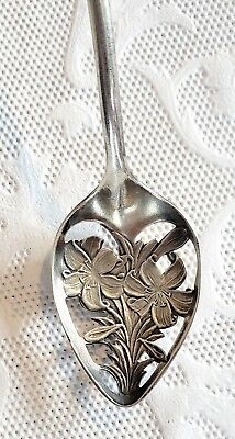SALE Sterling Silver Lily Lilium Olive Spoon 925 Antique Long Cocktail Flower