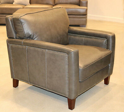 Art Deco Style Lounge Easy Chair Top Grain Pewter Leather  Restoration Style New