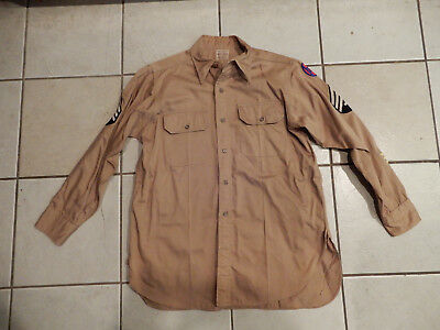 Original Wwii Us Army Khaki Shirt 30Th Infantry Division Size 15 X 32