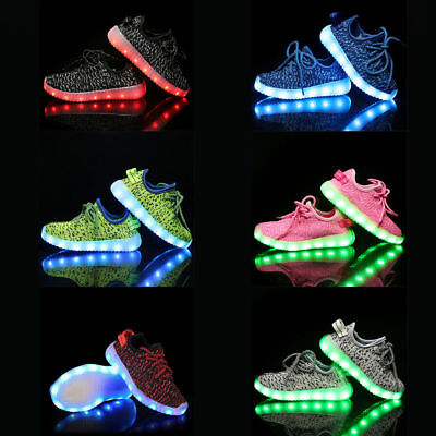 LED RGB Light Up Boys Girls Luminous Sneakers Kids Children Casual Shoes Fashion