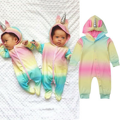 UK Unicorn Horn Infant Baby Boy Girl Hooded Romper Jumpsuit Kids Clothes Outfit