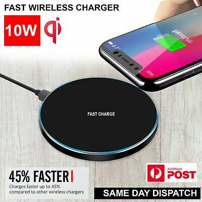 Wireless Charger Qi FAST Charging Pad Receiver For iPhone XS XR 8 Samsung S9 S8