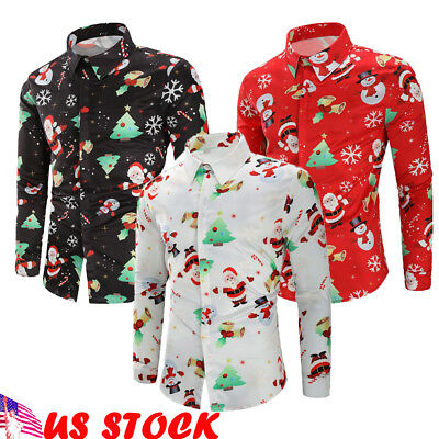 Christmas Men's Button Up Casual Shirts Slim Fit Long Sleeve Dress Shirts Tops