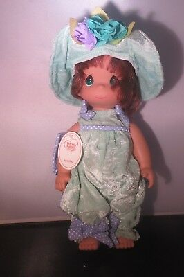 """Precious Moments 12"""" Honey Dew Brunette Girl Vinyl Doll Green with hat NEW #4782"""