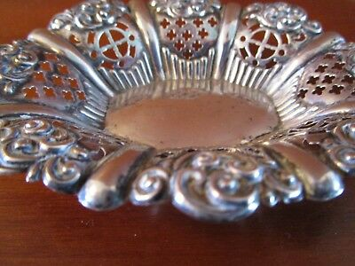 Antique Birmingham Sterling Silver Reticulated Nut Dish