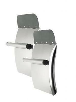 """Deluxe 24"""" x 29"""" Stainless Steel Quarter Fender Set with round tube support"""