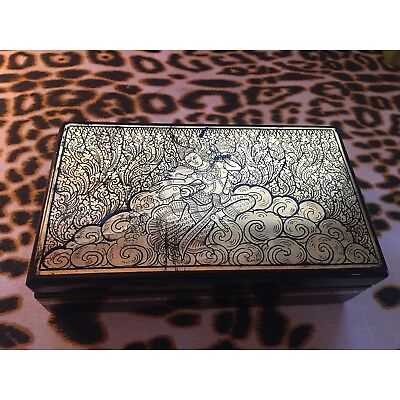 Vintage Indian Goddess Hindu God Black Gold Plastic Trinket Jewelry Storage Box