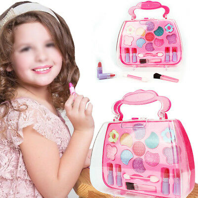 Princess Makeup Set Kids Toy Cosmetic Pretend Play Kit Pink Case Girl Gift Study