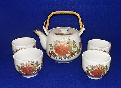 Hot Sake / Tea Set - Teapot w/ Strainer, 4 Cups - Flowers, Bamboo Handle - Japan