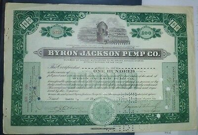 BYRON JACKSON PUMP Co 1929 Signed, Perforate Cancel, transfer receipt.