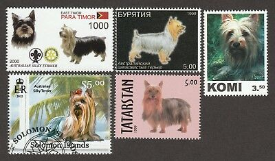 SILKY TERRIER ** Int'l Dog Postage Stamp Collection**Unique Gift Idea**