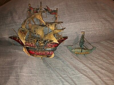 2 Vintage Folk Art Ships 1 Wood Handmade Ship & 1 Metal Viking Ship No Reserve