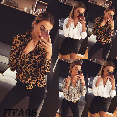 Women Leopard Print Blouse Long Sleeve Fashion Ladies T-Shirt Oversize Loose Top