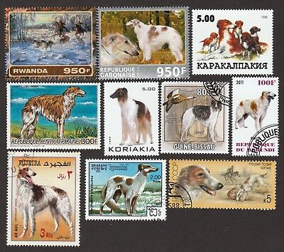 BORZOI **Int'l Dog Postage Stamp Collection**Great Gift Idea**Russian Wolfhound