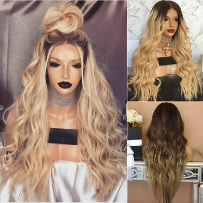 28'' Long Curly Blonde Ombre Women Wig Fashion Heat Resistant Synthetic Wig