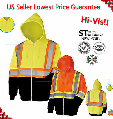 Hi Vis Hooded Sweatshirt Class3 Safety Hoodie ZipFront Road Work HIGH VISIBILITY
