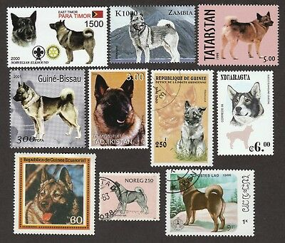 NORWEGIAN ELKHOUND ** Int'l Dog Postage Stamp Collection ** Great Gift Idea **